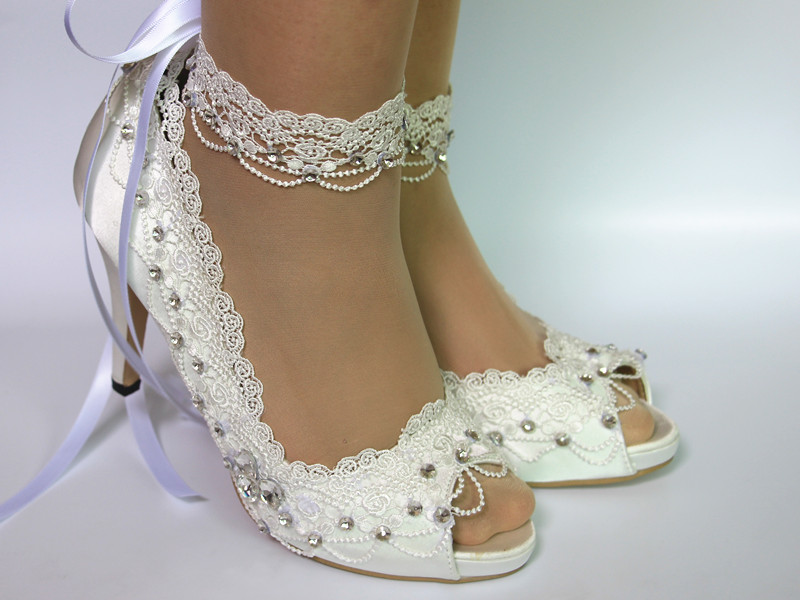 Maid of Honor Bridesmaid Mother of the Bride Wedding Shoes High Heels 3 quot Woman 39 s Vintage Lace Peep Toe Bridal Shoes in Women 39 s Pumps from Shoes
