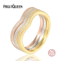 FirstQueen Genuine 925 Sterling Silver Classic Forever Love Heart Finger Rings for Women,AAA Zircon Engagement Jewelry