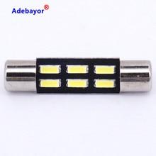 Ampoule Festoon C5W au xénon blanc 20X T6.3 28MM 4014 6SMD, lumière d'intérieur d'automobile, lampe de porte, dôme, plaque d'immatriculation de voiture