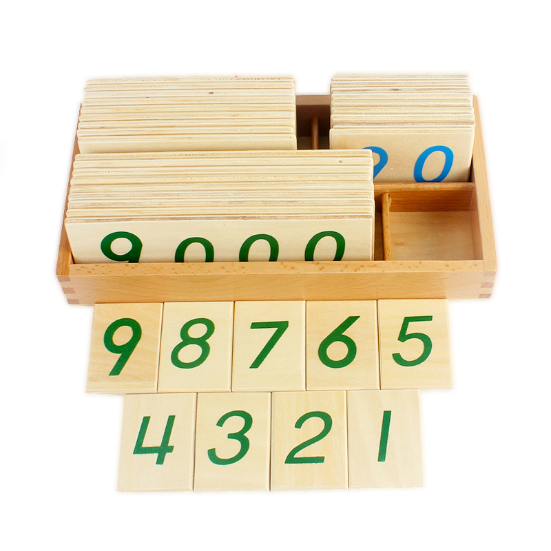 Baby Toys Montessori Math Toy Small Digital Wooden Cards with Box (Nmuber 1 9000) Educational Early Learning Toys Christmas Gift