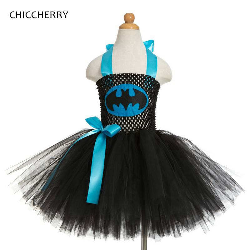 Summer Black 2-12 Years Superman Baby Lace Tutu Dress Bow Kids Halloween Party Outfits Vetement Enfant Fille Children Costumes