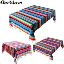OurWarm Mexican Cotton Tablecloth Blanket Wedding Table Cloth Style Travel Camping Baby Play Bed Cover 150X215cm