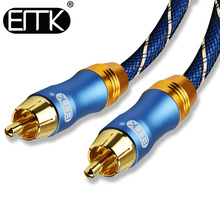 купить EMK High Quality Stereo Digital Coaxial Audio Video Rca Cable speaker cable Hifi Subwoofer cable AV TV cables Free shipping по цене 548.44 рублей