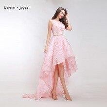 Розкішні Pink Prom Dresses 2017 Нова мода O-neck без рукавів Flower Plus Розмір Висока Низька вечірня вечірня плаття Офіційні довгі сукні