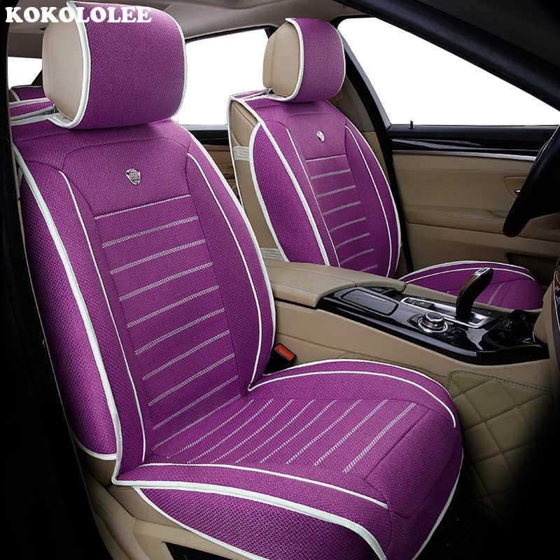 Nowy luksusowy len uniwersalny pokrowiec na siedzenia samochodu dla hyundai Elantra solaris tucson Zhiguli veloster getz creta i20 i30 ix35 i40 samochód