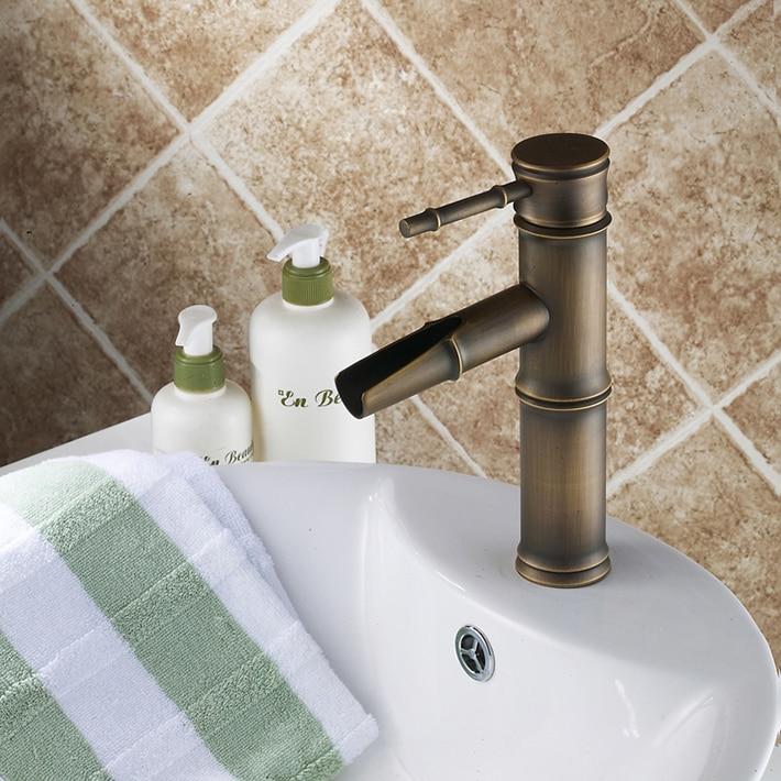 Anqitue Bronze Lavatory Vanity Vessel Single Handle Deck Mount Bathroom Sink Faucet Mixer Tap bamboo design