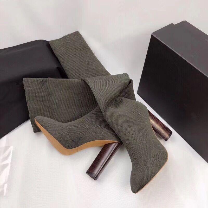 Sobre Rodilla Botas Tejido 40 Show Las Zapatos Mujer Tejer Largas Del Calcetines Madera Mujeres as Lujo Marca Talones Show Alto De Elástico As 0wOEZq