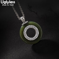 Uglyless 100% Real Solid 925 Sterling Silver Handmade Vines Pattern Pendants for Women Nature Green Jade Button Necklaces Circle