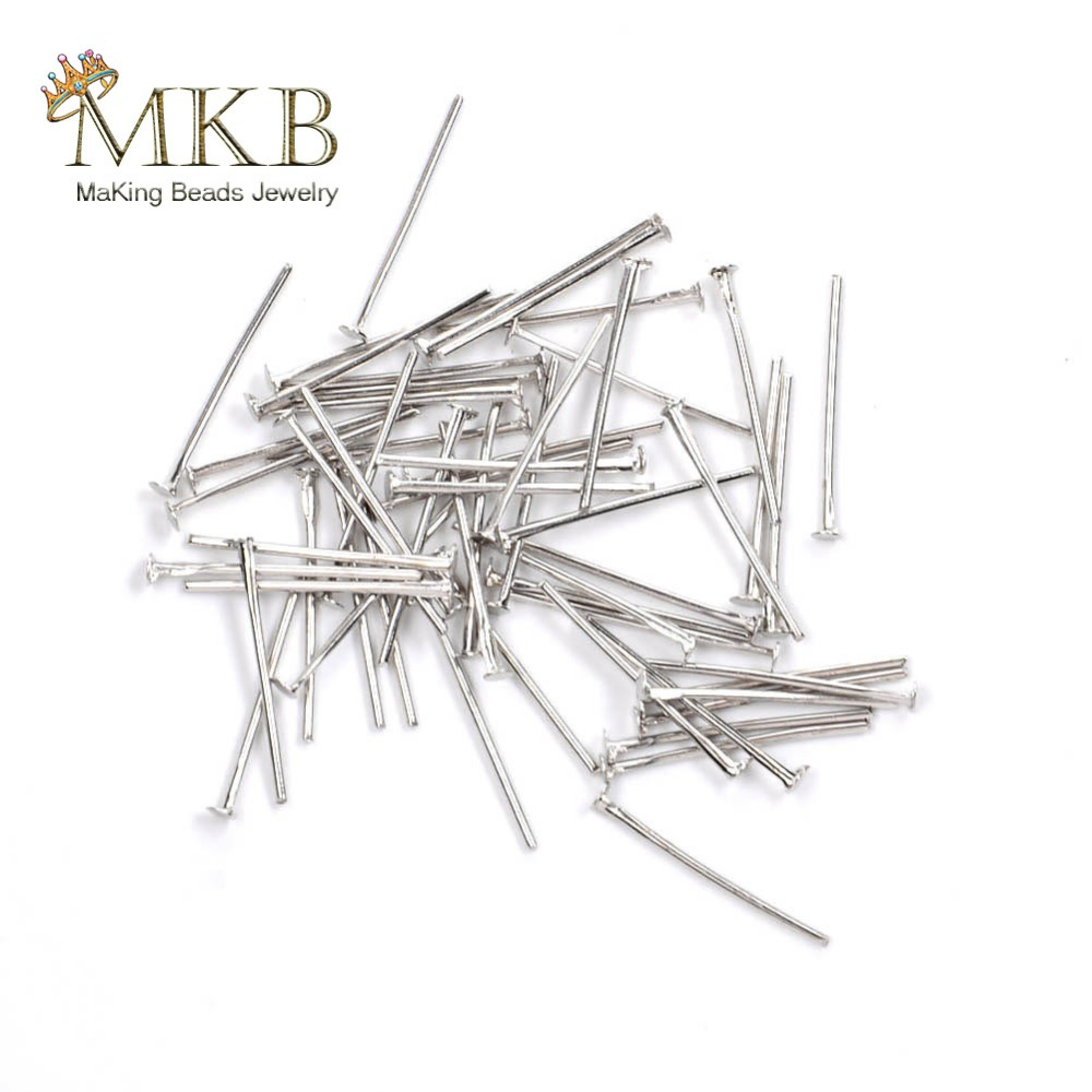 200pcs Flat Head Pins Jewelry Findings For Jewelry Making 0.6*18mm T Head Pins Fit Diy Necklace Earring Jewellery Accessories