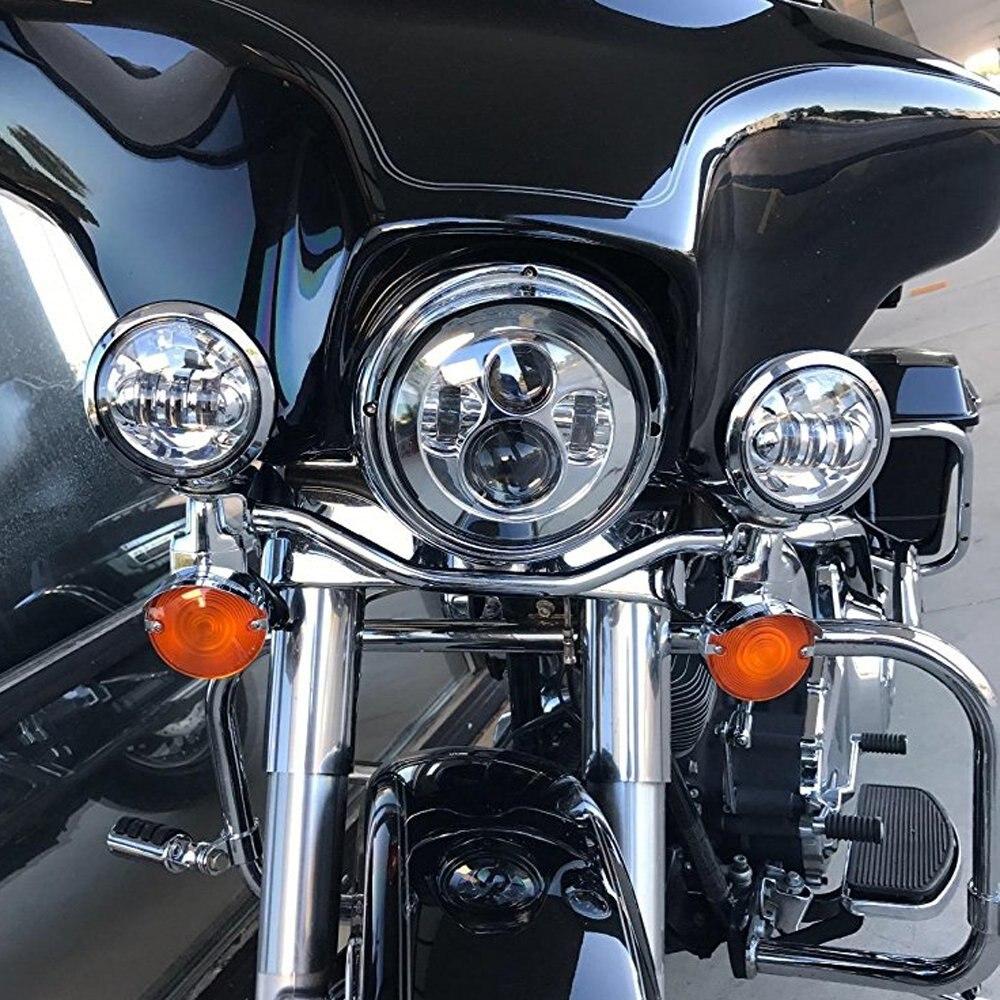 7 pouces phare H4 à H13 moto projecteur salut/Lo phare LED pour Harley Davidson chrome