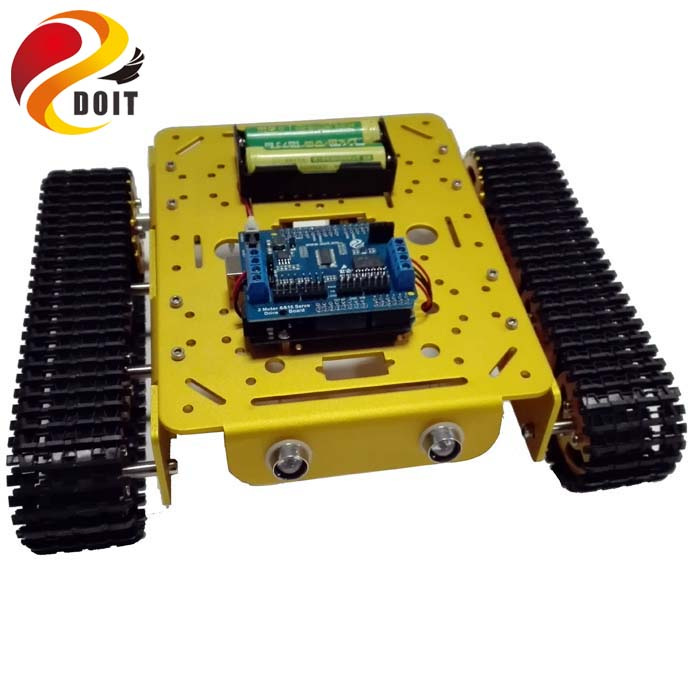 Original DOIT WiFi Metal Tank T200 by Android/iOs Phone From ESPDUINO Development Kit with 2-way Motor & 16 Way Driven Shield