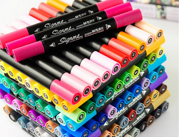 M&G 24/36/48/60/80 colors/set Colorful Marker Pen Hightlighter Double Nibs Oblique Nib Drawing Painting Stationery Art Design promotion touchfive 80 color art marker set fatty alcoholic dual headed artist sketch markers pen student standard