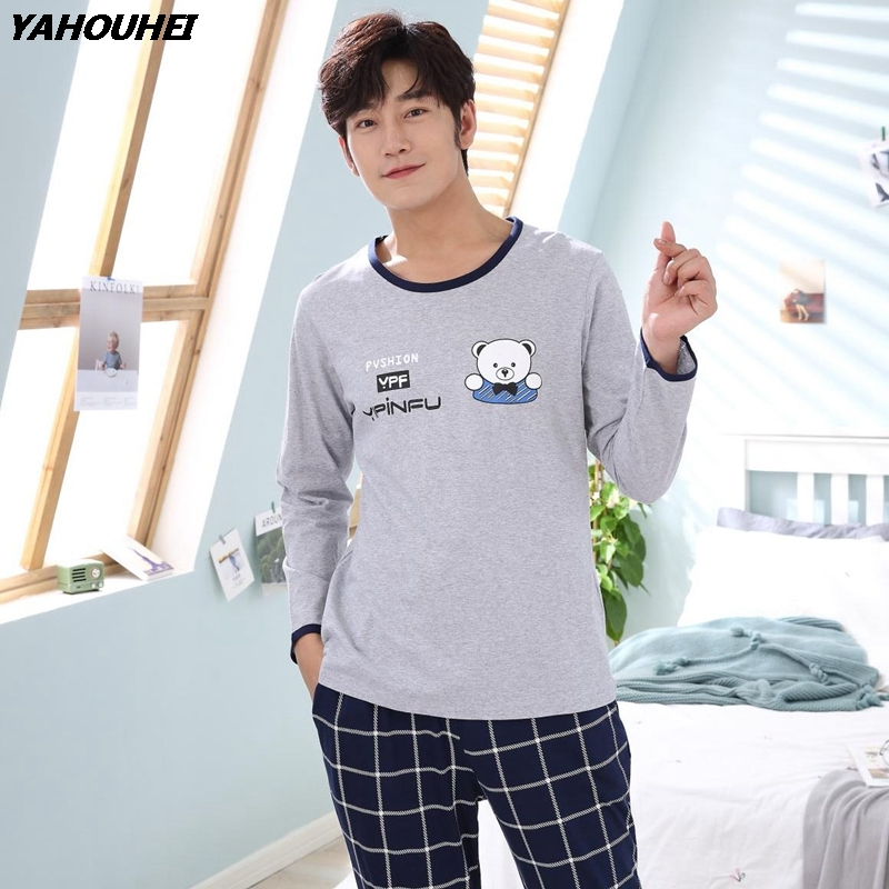 2019 Autumn Winter Cotton Pajama Set For Men Long Sleeve Cartoon Pyjama Male Casual Plaid Pants Homewear Loungewear Home Clothes