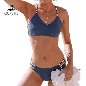 Image 5 - CUPSHE Marineblauw Geribbeld En Strappy Bikini Set Sexy Lace Up Badpak Twee Stukken Badmode Vrouwen 2019 Meisjes Strand Baden suits