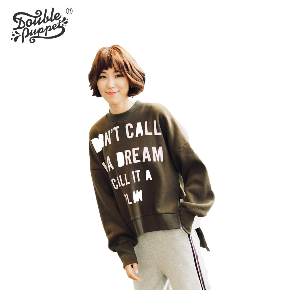 Double puppet 2018 new spring autumn womens long sleeve sweatshirts full cotton letter loose casual keep warm pullovers 173054