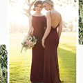 Cheap 2017 Long Mermaid Bridesmaid Dresses Long Burgundy  Bouquet Sleeveless Appliques Sweetheart Floor Length Custom Made
