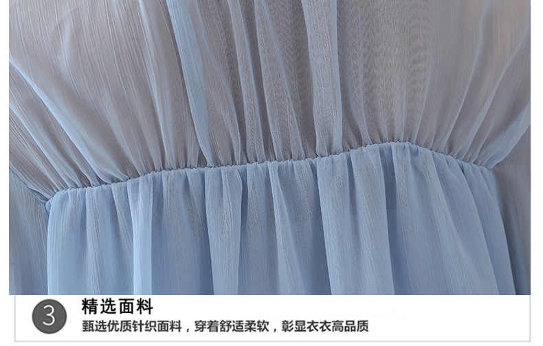 2018 ファッションロングちょうちん袖二重層シフォンブラウス女性甘いスカイブルーシフォンシャツトップスプルオーバー