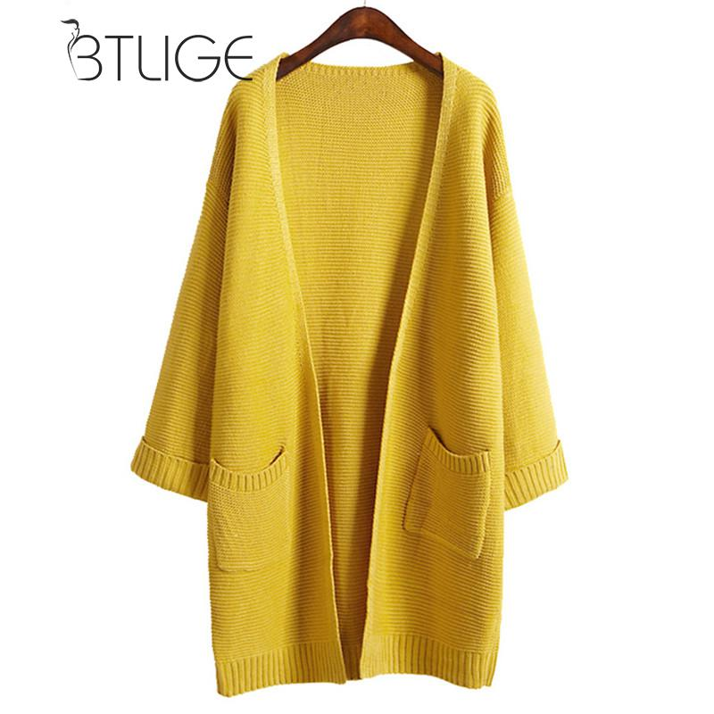 BTLIGE Cardigan Sweater Coat Women 2017 Winter Long Sleeved Pockets Yellow Long Loose Cardigans Knitted Coat Solid Sueter Mujer