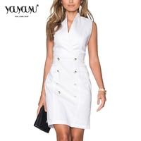 Kaige Nina New Dress Simple Pure Color Office Lady Style Sleeveless No Decoration Knee Length V