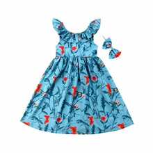 цена на Vogue Kids Girls Clothes Sleeveless Ruched Bow  Blue Dress Floral Print V Back Children Girls Clothes