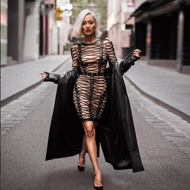 39a9581e29 2017 Spring New Fashion Bandage Dress Women Long Sleeve O neck network  Celebrity Evening Party Dresses Bodycon Runway Dress