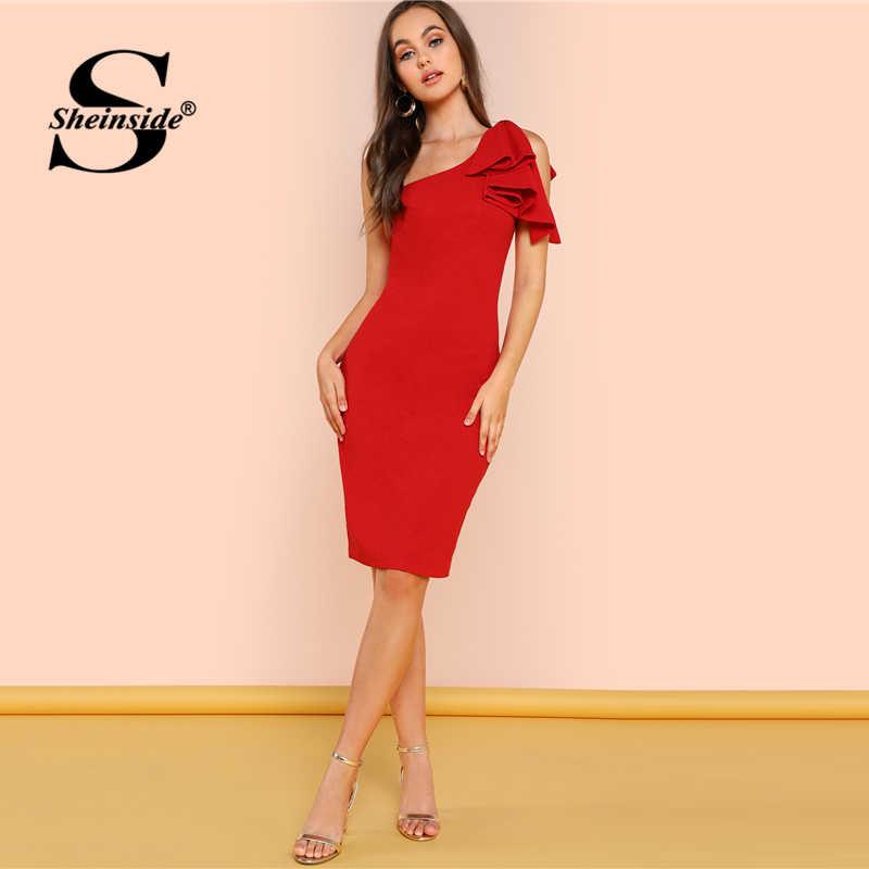 cab43e21ff ... Sheinside One Shoulder Ruffle Red Elegant Bodycon Dress Women Plain  Sleeveless Knee Length Skinny Pencil Midi ...