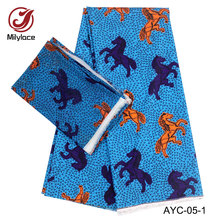 2 in 1 digital print Satin material African wax design fabric hot selling yards Chiffon+4 for dress AYC-05