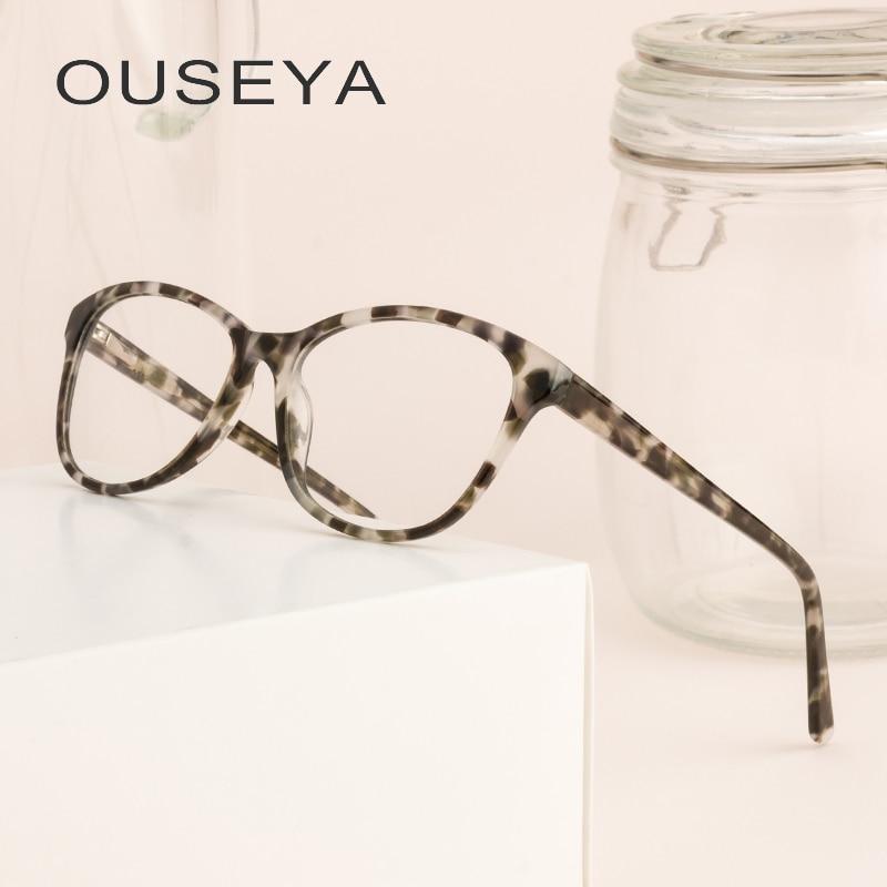 Acetat Frauen Brille Rahmen Runde Nerd Anblick Klar Objektiv Retro Transparent Vintage Frauen Brillen Rahmen # Cb3857