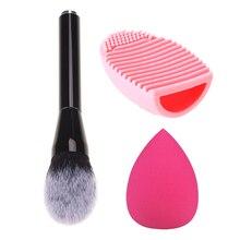 3PCS Professional Powder Foundation Kit Makeup Sponge Puff Set Brushes Brush Cleaner Foundation Brushes Cosmetic