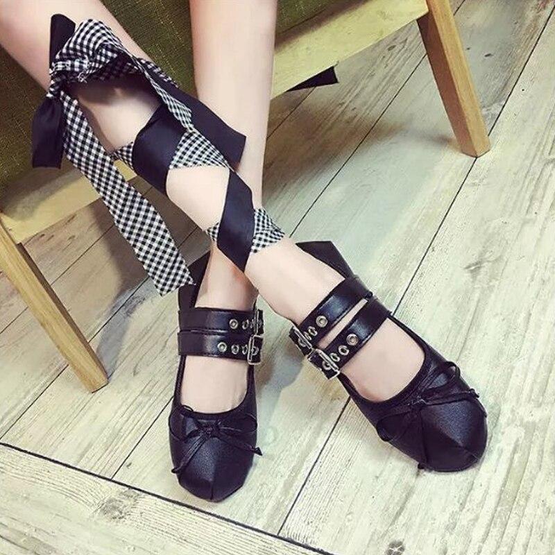 Et Plat Chaussures Sangles Sapato Feminino Boucle Métal En O1235 Punk Américain Ballet Européen Croisées Nouvelle Automne Belle Femmes Noir Appartements Mode 6qZEE4A