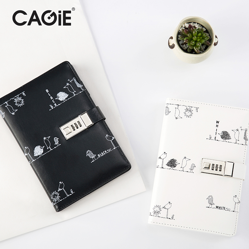 CAGIE Daily Planner Leather School Notebooks Black/White Lock Diary Journal Organizer Agenda Kawaii Sketch Book Filofax Gifts genuine leather notebook travelers journal agenda handmade planner notebooks diary caderno sketchbook school supplies