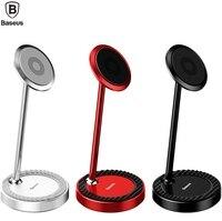 Baseusブランド円形定常デスクトップ携帯電話磁気ブラケットアルミホールドスタンド用iphone x 8/サムスンユニバーサル電話