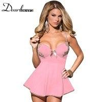 Dear lover Sexy Lingerie Hot Ngủ Phụ Nữ Hồng Xanh 2 Cái Sợi Nhỏ và Lưới Babydoll & Chemise với Thong LC22173
