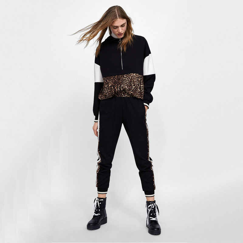 New Women Leopard Stiching Casual Hooded Sweatershirts Loose Fashion Long Sleeve Cool Autumn All-matched Female Sweatershirts