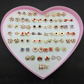 36Pairs/lot Heart Box Mix Designs Randomly Small Gold & Silver Fashion Kids Girls Stud Earrings For Women Jewelry