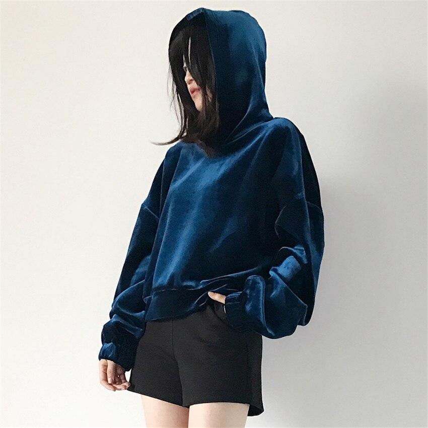 New Fashion Autumn Winter Women Thick Gold Velvet Sweatshirts Long Sleeve Hooded Pullovers Short Loose Tops Streetwears WZ178