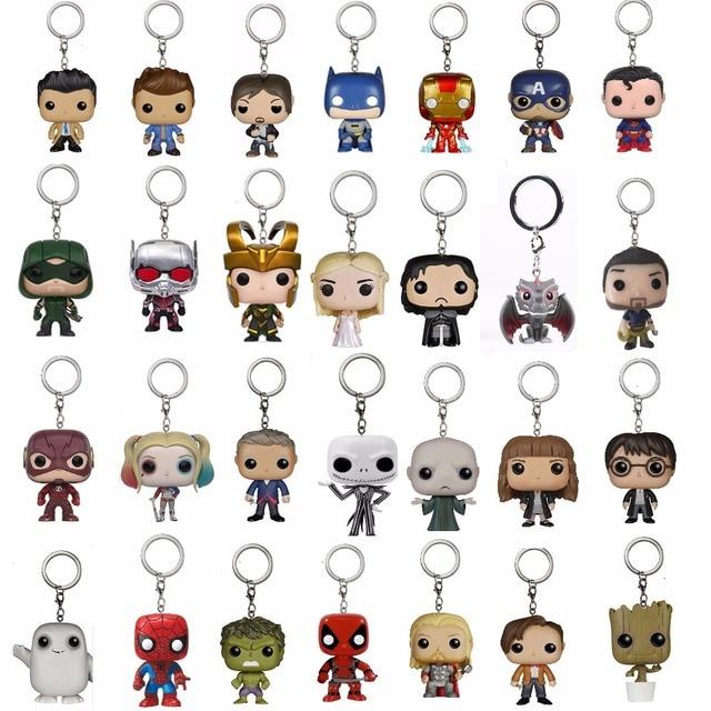 מארוול נוקמי גיבור ספיידרמן איש ברזל קפטן אמריקה Deadpool פעולה איור Keychain צעצוע Harri פוטר עם תיבה הקמעונאי