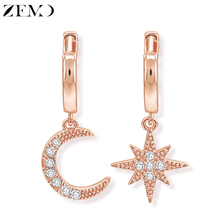 ZEMO Rose Gold Hoop Earrings with Cubic Zirconia Moon & Stars Earring for Women 1 Pair Round Earrings Jewelry Gifts for Girls pair of stunning rose wedding earrings jewelry for women
