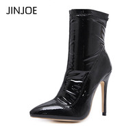 JINJOE Winter Women Boots Gladiator pump Pointed Toe Ankle Boots Vinyl Leather Boots Bootie party Dress Shoes Stiletto High Heel