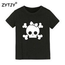 Детская футболка с принтом черепа и бантом Футболка для мальчиков и девочек, детская одежда для малышей Забавные футболки Tumblr Прямая поставка, CZ-22