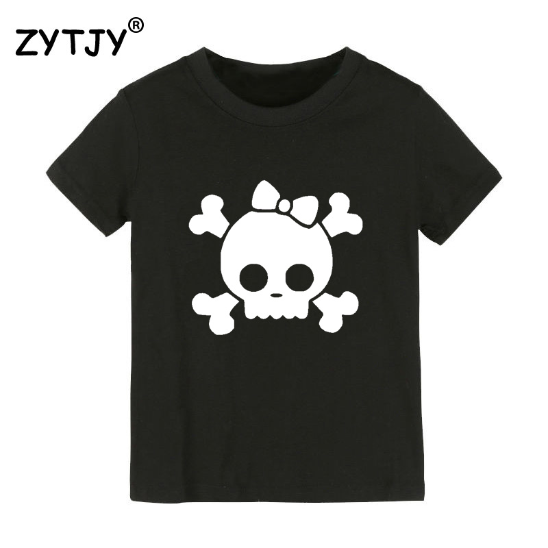 skull bow print Kids tshirt Boy Girl t shirt For Children Toddler Clothes Funny Tumblr Top Tees Drop Ship CZ-22 image