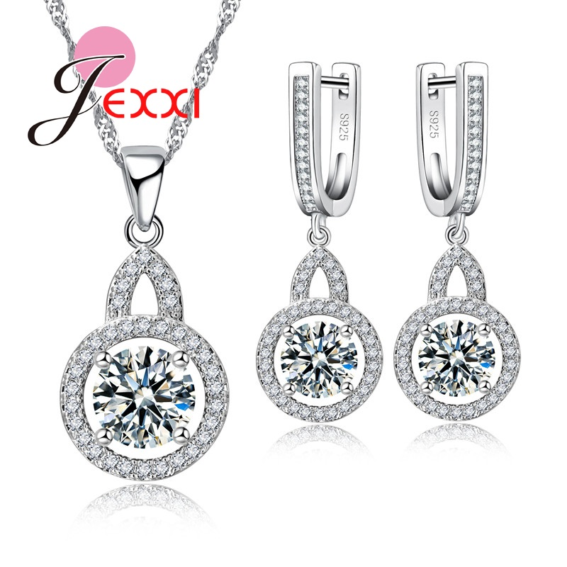 Jemmin Round Shape Jewelry Set Silver And Shining Crystal Necklace Chain Pendent Earrings Set For Women Best Gift For BirthdayJemmin Round Shape Jewelry Set Silver And Shining Crystal Necklace Chain Pendent Earrings Set For Women Best Gift For Birthday