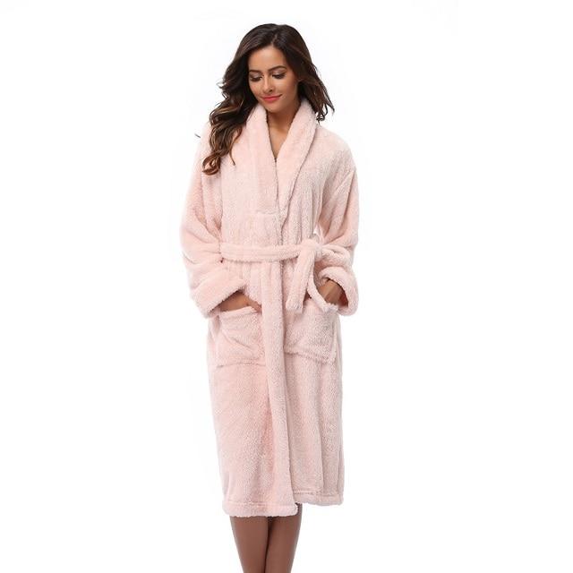 1c02414eca FE DIE Women s Plush Bathrobes Soft Coral Fleece Long Bathrobes Highly  Absorbent Robes Plus Size Women s Winter Nightwear