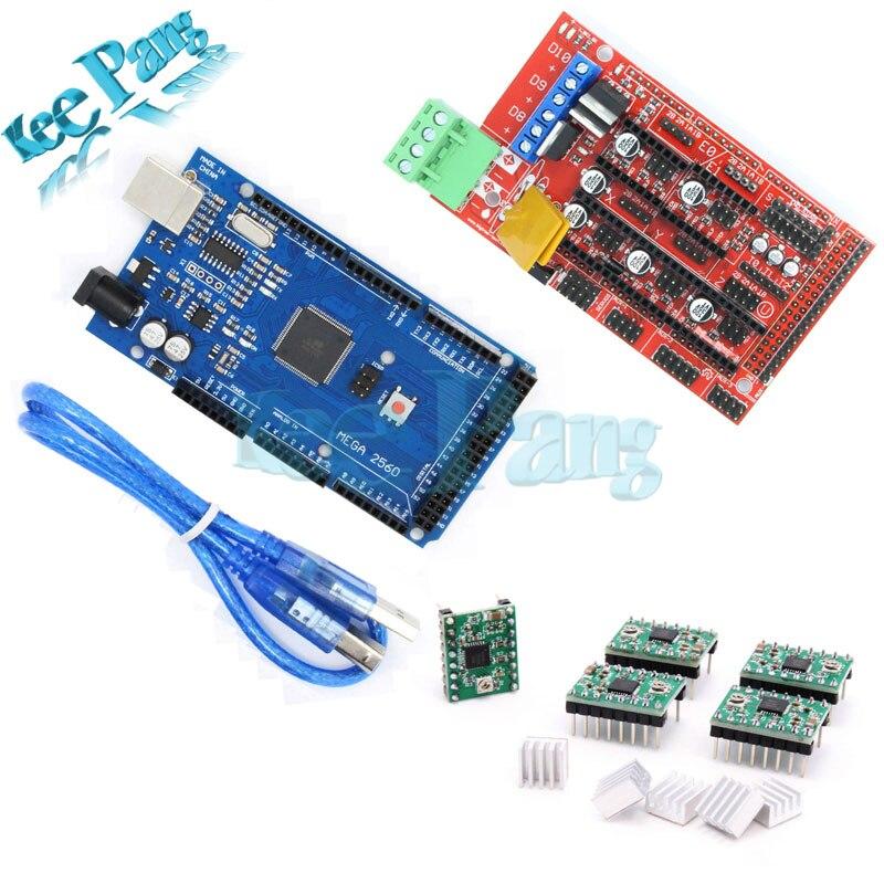 Mega 2560 R3 + 1 pcs RAMPES 1.4 Contrôleur + 5 pcs A4988 Pilote pas à pas Conseil Module Partie Pour 3D Imprimantes Pièces Carte Mère kit