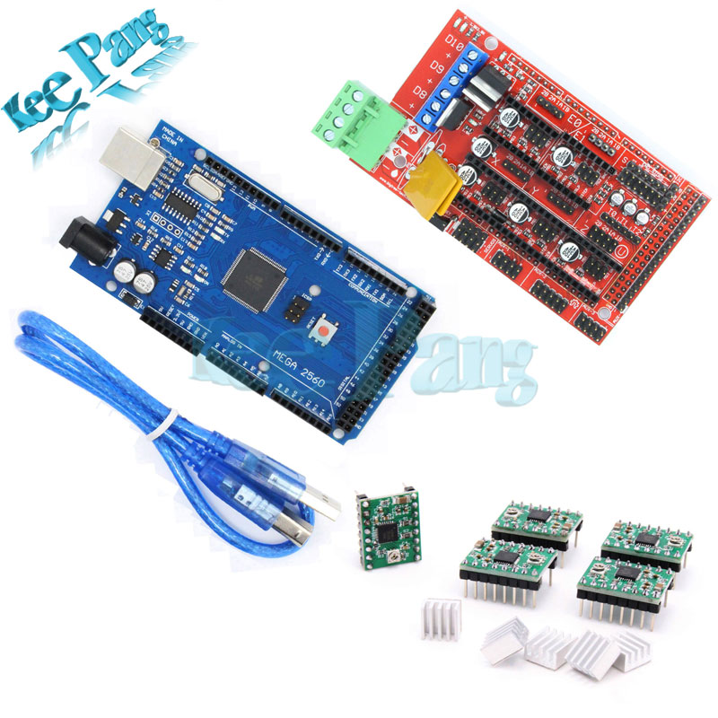 Mega 2560 R3 + 1pcs RAMPS 1.4 Controller + 5pcs A4988 Stepper Driver Module RAMPS 1.4 KIT for 3D Printer kit Reprap MendelPrusa