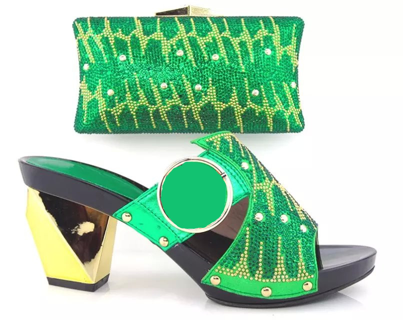 ФОТО GREEN Wonderful Style Italy ladies Shoes And Bag Set HY3012 African High Quality Shoes And Matching Bags For Party/Wedding