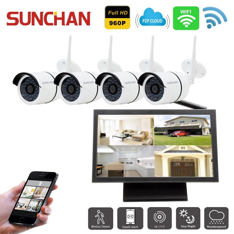 bilder für Sunchan 4 ch 960 p hd system wasserdicht überwachungssystem 1.3mp Outdoor-überwachungskamera 4 Kanal CCTV NVR Kit AHD Kamera Set