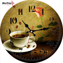 MEISTAR Romantic Butterfly Round Silent Clock For Home & Garden Living Room Office Kitchen Wall Decor Art large Gift