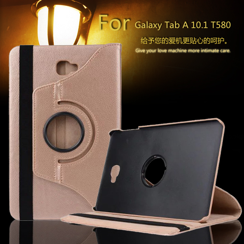 360 Degree Rotating Litchi Folio Stand PU Leather Skin Case Cover For Samsung Galaxy Tab A6 10.1 T580 T585 10.1