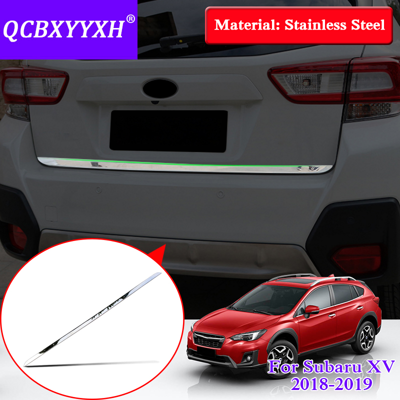 Car Styling Stainless Steel Sequin For Subaru XV 2018 Exterior Protective Pad On The Rear Trunk Trim Lid Threshold Rear Door car auto accessories rear trunk trim tail door trim for subaru xv 2009 2010 2011 2012 2013 2014 abs chrome 1pc per set